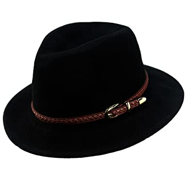 e6d61655fa6 Verashome Felt Panama Hat-Adjustable 100% Wool Fedora Brim Wide Band  Vintage Fit for
