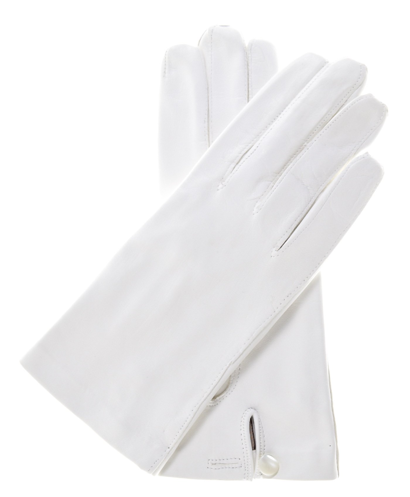 Fratelli Orsini Women's Italian Silk Lined White Leather Wedding Gloves Size 6 Color White