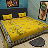Traditional Mafia Wild Flower Collection 100% pure Cotton Printed double King Size Bedsheet with 2 pillow Covers, Yellow