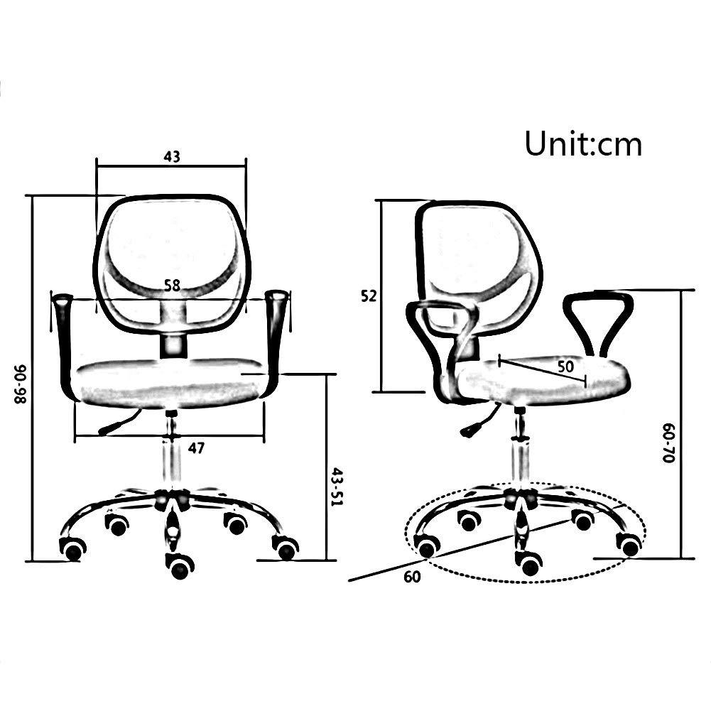 WYYY stolar kontorsstol ergonomisk 360 graders svängbar nätstol ryggstöd datorstol höjd justerbar 43–51 cm 5 färger hållbar stark (färg: svart) Röd