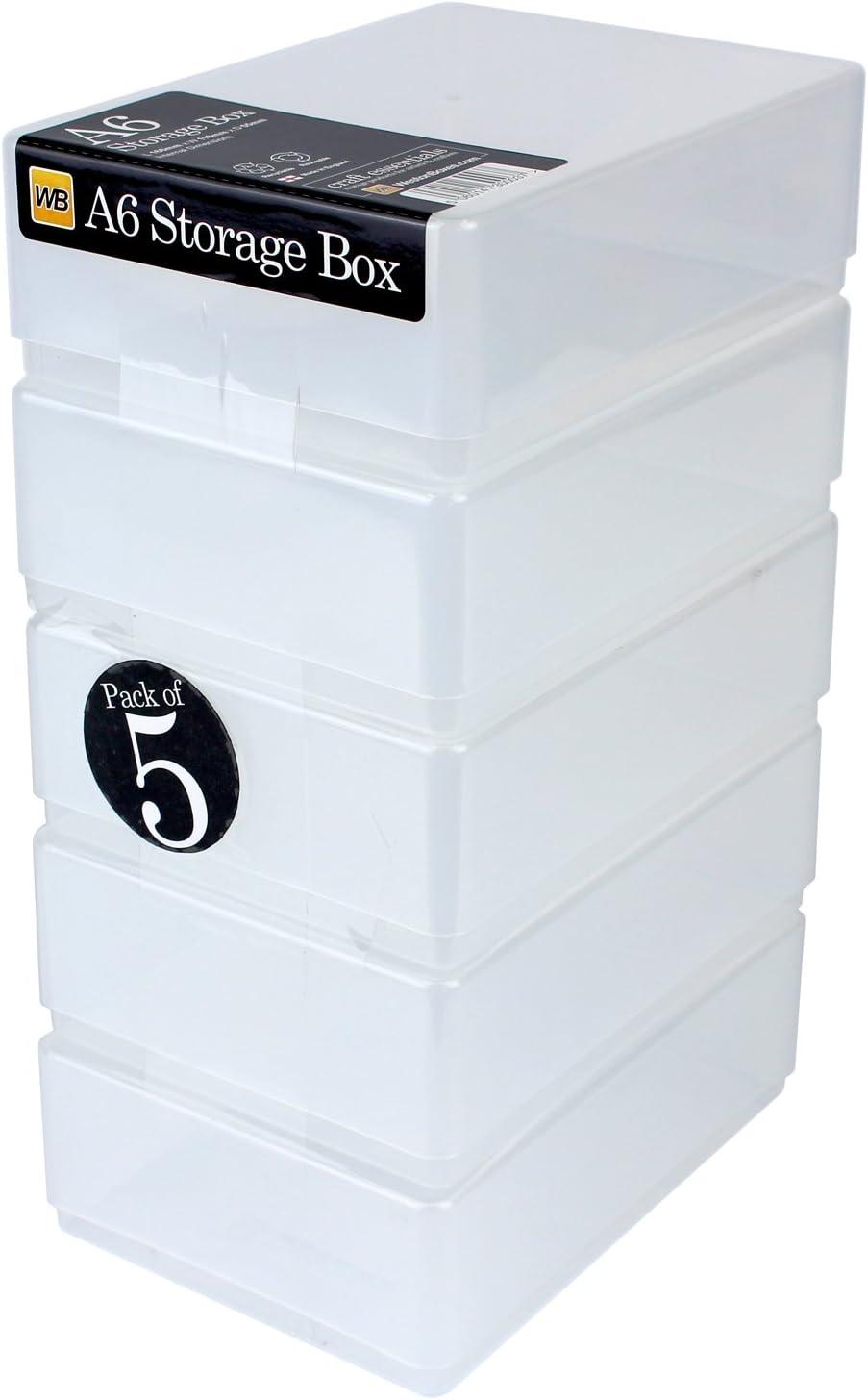 WestonBoxes A6 Caja de Almacenamiento para Papel, Tarjetas y Suministros de Arte pequeños: Puede Contener 500 Hojas de Papel de 80 g / m2 (Transparente, Paquete de 5)