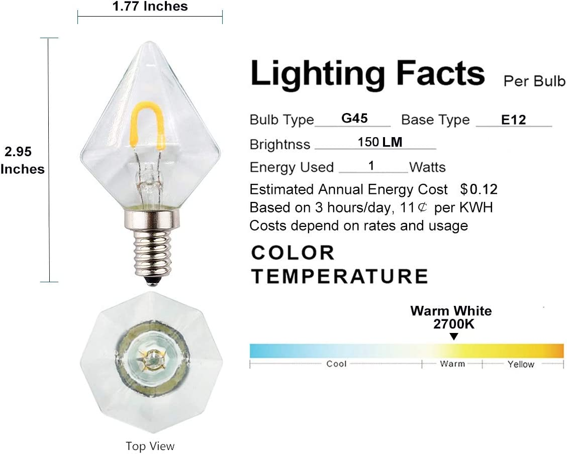 15W Incandescent Replacement Pack of 2 E12 Small Base OPALRAY G14//G45 Style Mini Diamond Shape LED Light Bulb 2700K Warm White Light 150LM Clear Glass Housing 1W Dimmable