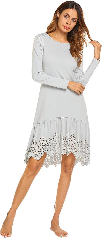 Zeagoo Women's Casual Lace Hem Sleepwear Long Sleeve Tunic Swing Fit and Flare Sleepwear Dress