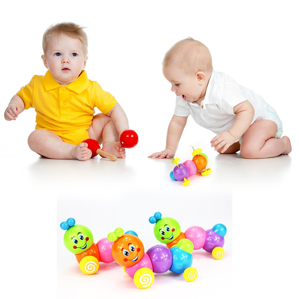 2 Pack Kids Child Develepmental Toy Movement Caterpillar Plastic Toys Wind-up Toys Gift coffled