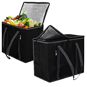 ATS Homz Insulated Grocery Bag: Eco Friendly Heavy Duty Foldable Shopping Storage Zipper Tote Bag for Hot and Cold Reusable Shopping Catering, Frozen Food Transport Delivery, Travel or Picnic (2 Pack)