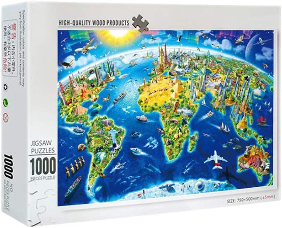 Deajing 1000 Piezas Puzzles Adultos Paisajes Puzzles Mapa del Mundo Puzzles Juguetes Niños Educa Puzzles para Adultos y Niños Juego de Rompecabezas: Amazon.es: Juguetes y juegos