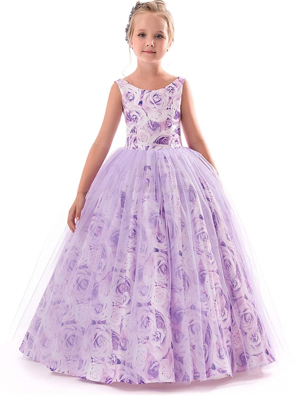 TTYAOVO Girls Pageant Princess Flower Dress Kids Prom Puffy Ball ...