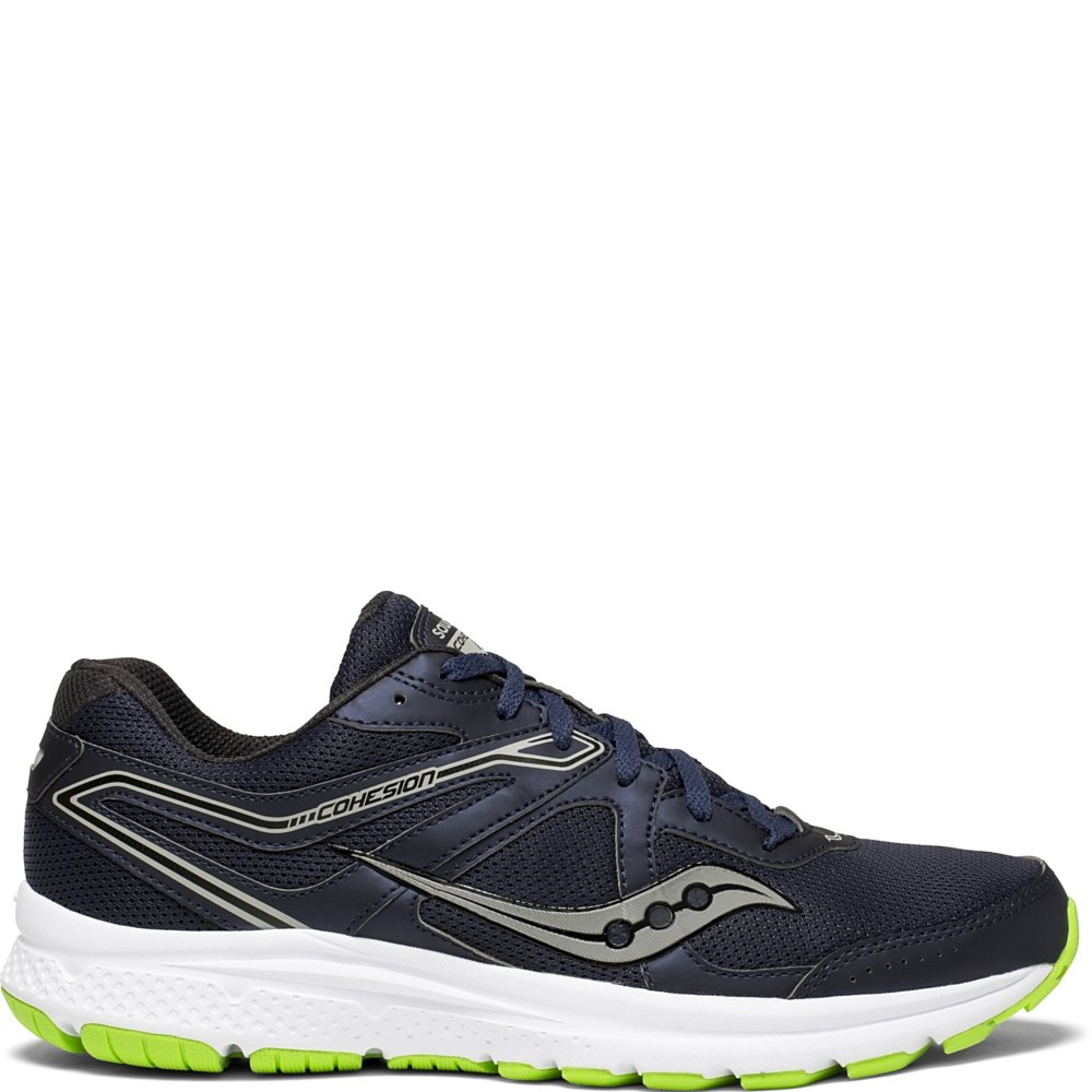 Saucony Men's Cohesion 11 Running Shoe, Navy/Slime, 10.5 Medium US