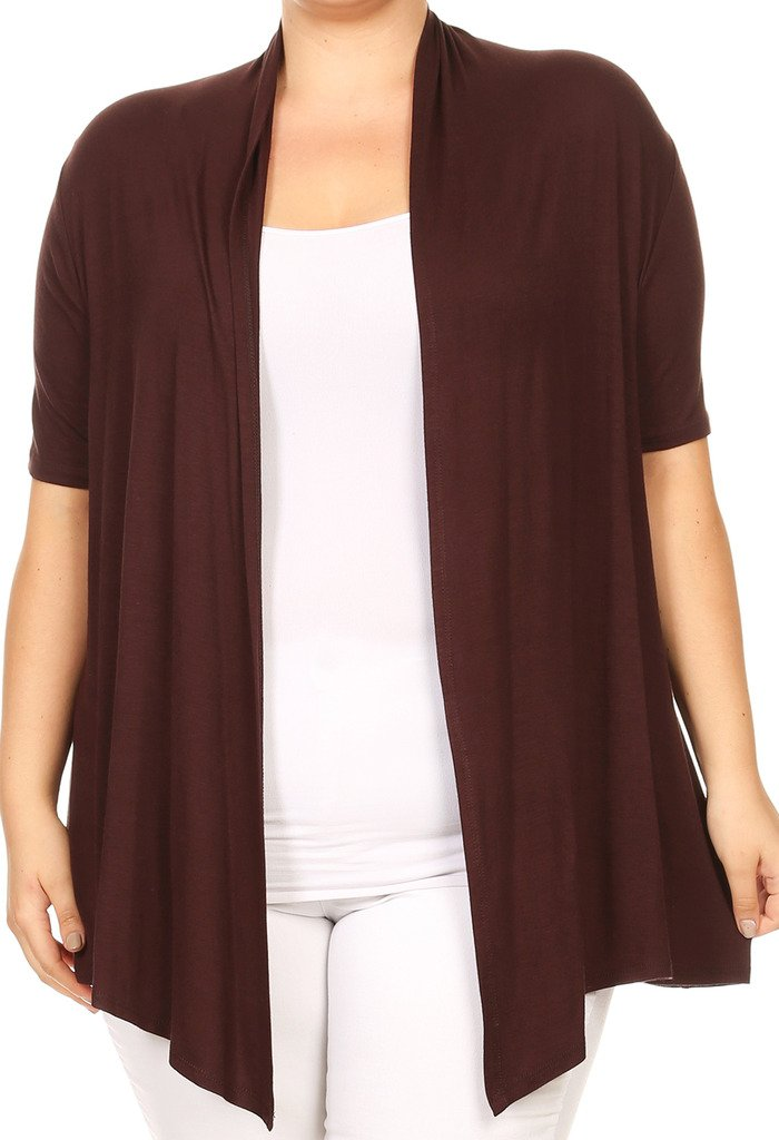 BNY Corner Women Plus Size Short Sleeve Cardigan Open Front Casual Cover Up Brown 1 X 433 SD