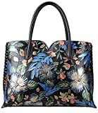 Pijushi Designer Floral Purse Women's Genuine Leather Tote Handbags 65102 (Black Floral)