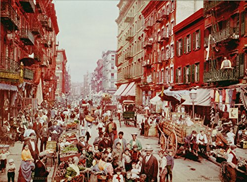 Old Tin Signs Mulberry Street In New York City 1900 Colorized Little Italy