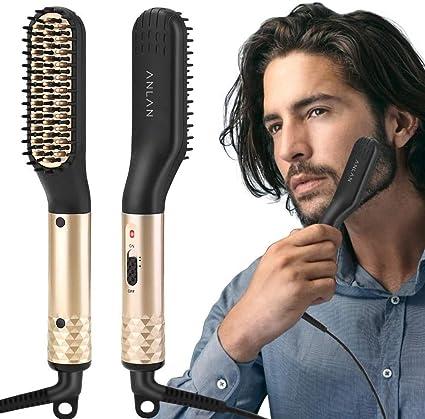 Oferta amazon: ANLAN Cepillo Alisador de Barba Plancha de Pelo Flequillo Eléctrico Profesional Peine de Peluquería Multifuncional Cepillo para Hombre Mujer