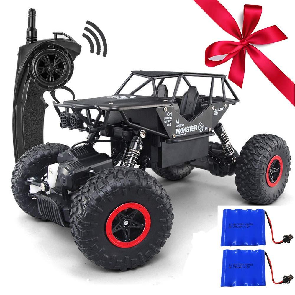 Mitoys ラジコンカー 4WDパワフル 防振性抜群 多機能 走破性抜群 オフロード車 1/18 2.4Ghz無線操作 RCカー 子どもプレゼント ブラック B07DGYRWKN