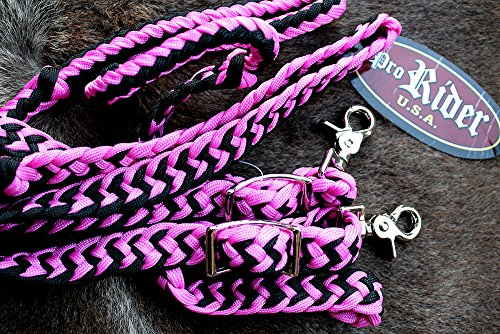 (ProRider Roping Knotted Horse Tack Western Barrel Reins Nylon Braided Pink 60706)