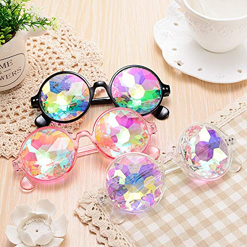 Magik Festival Party Rave Kaleidoscope Rainbow Round Glasses Diffraction Prism Glasses (Black+Pink+Clear 3 Pack) by Magik (Image #3)