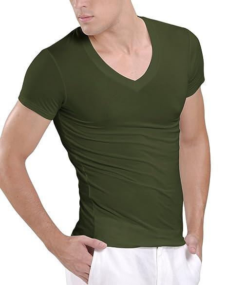 e6319dd80856d Amazon.com  Kalvon-Fu Men s Modal Deep V Neck Short Sleeve T-Shirt ...