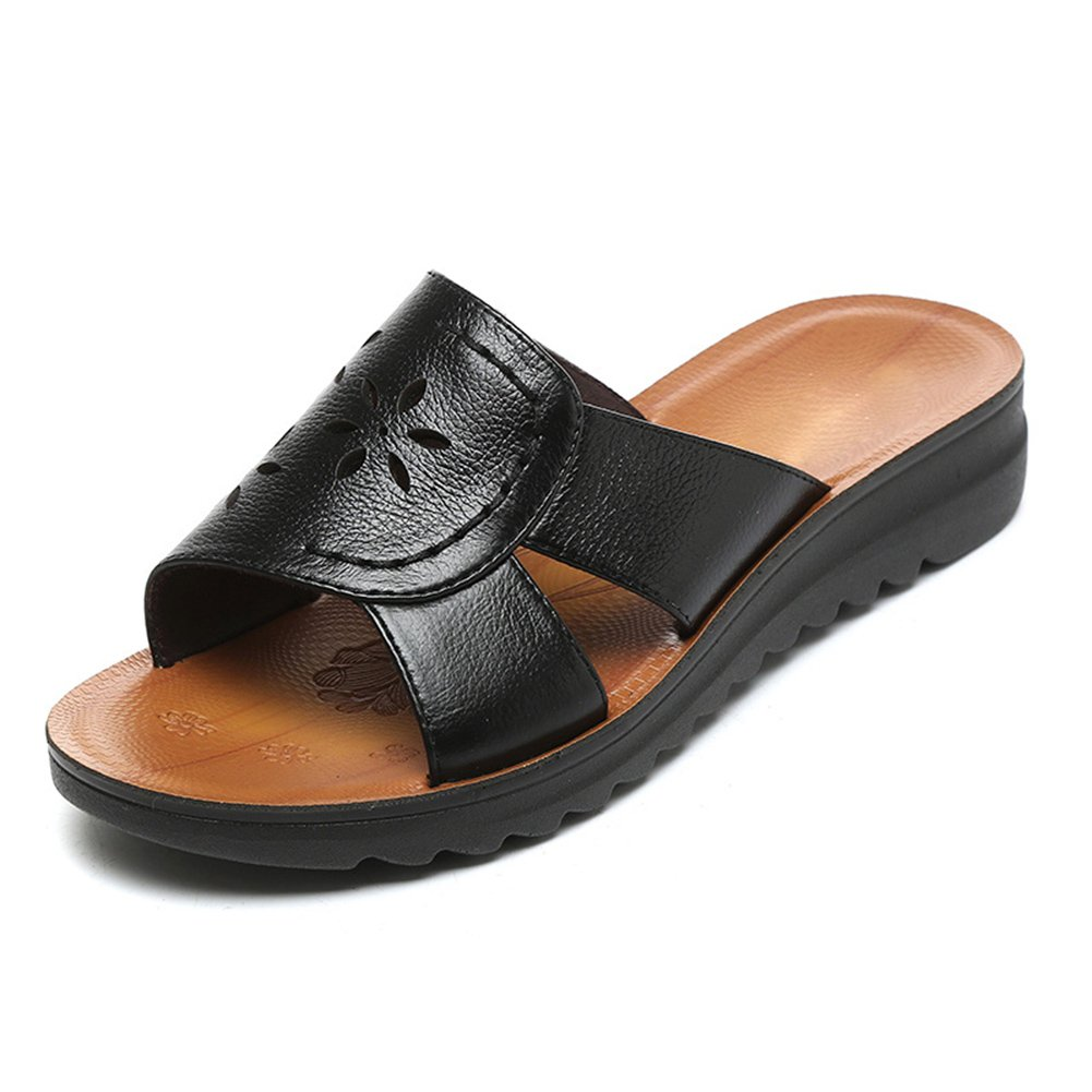 PENGFEI Verano Zapatillas Pantofola Hembra Fondo Plano Casual De Edad Mediana, Altura del Talón 3.5CM, 5 Colores (Color : Negro, Tamaño : EU36/UK4.5/US6/230) EU36/UK4.5/US6/230 Negro