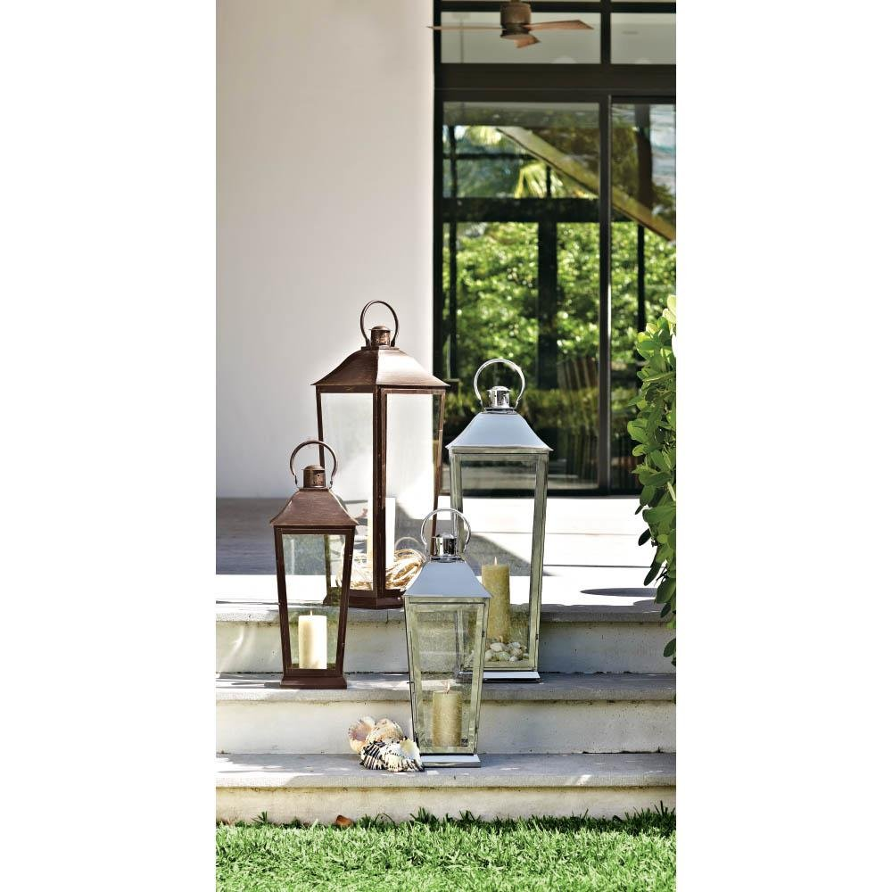 Home Decorators Collection Ravello 22 in. Candle Tapered Lantern in Weathered Bronze