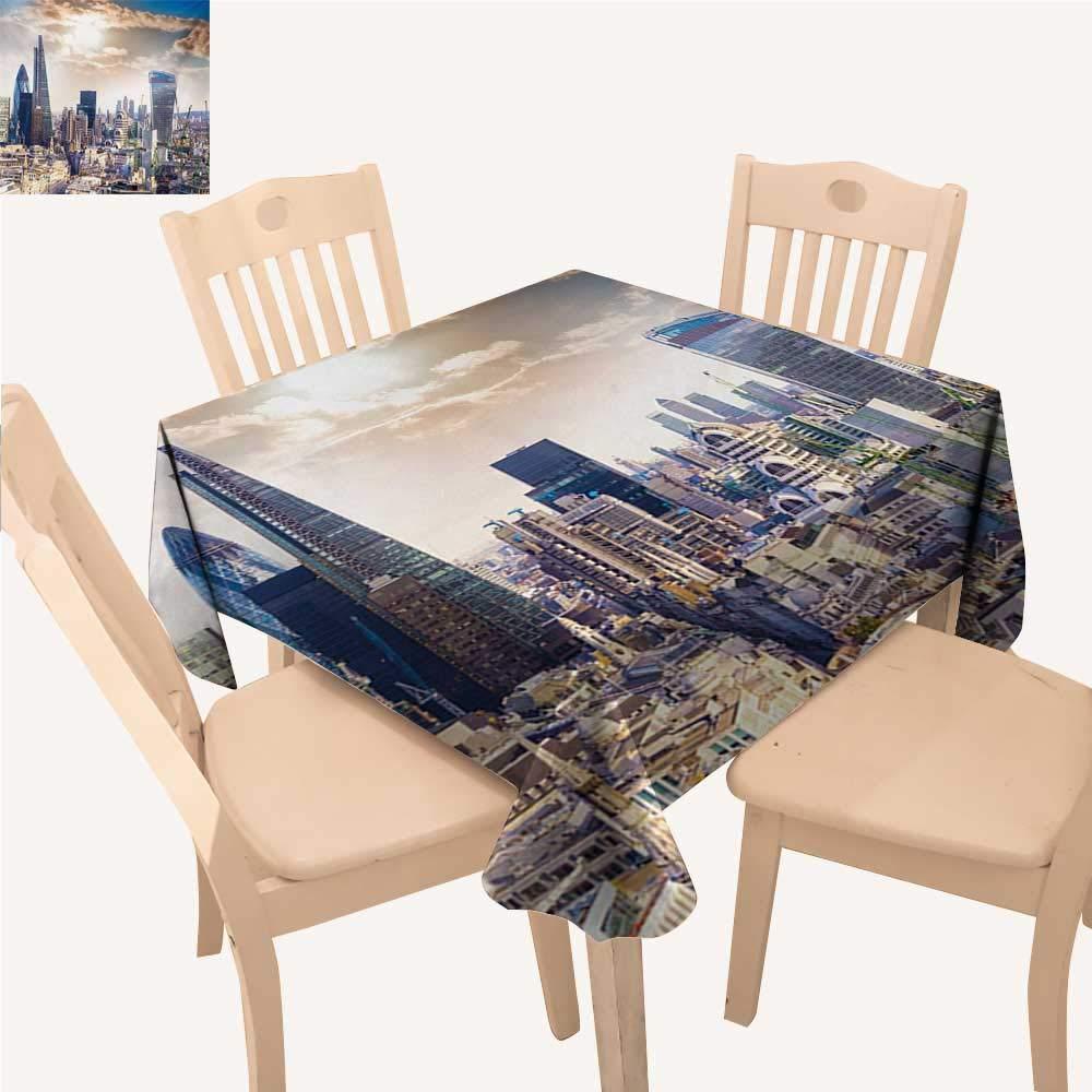 WinfreyDecor シティアウトドアピクニックエンパイア州とミッドタウンマンハッタンニューヨーク空中ビュー夕暮れダイニングテーブルカバー タンネイビーブルーアクア W 70