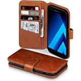 TERRAPIN 2017 Galaxy A5 Case Samsung Galaxy A5 2017 Leather Case - GENUINE LEATHER - Executive Folio Wallet Cover Flip - Card Slots - Bill Compartment - Cognac