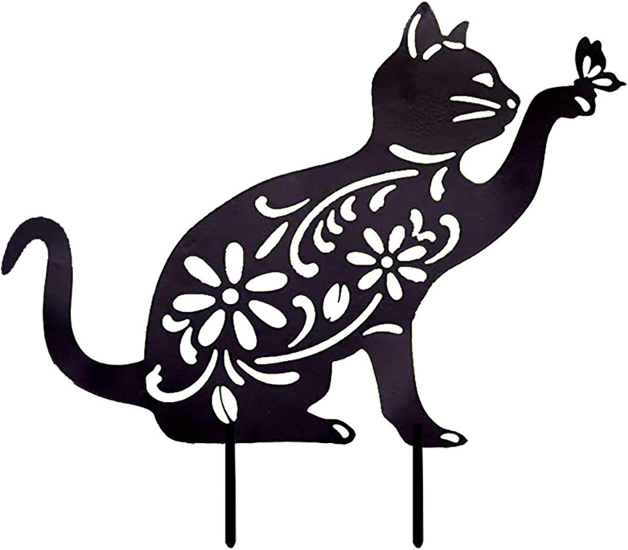ASkinds Cat Garden Stake Acrylic Cat Yard Art Black Hollow Cat Stake Decorative Kitten Ornament Cat Silhouette Statue for Home Outdoor Lawn Garden
