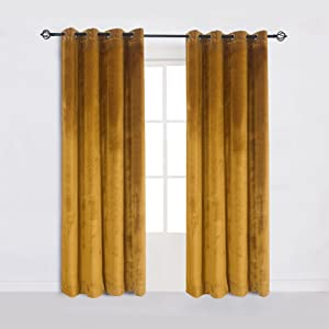 Cherry Home 52-Inch-by-84-Inch Velvet Blackout Grommet Curtain Panel, Yellow