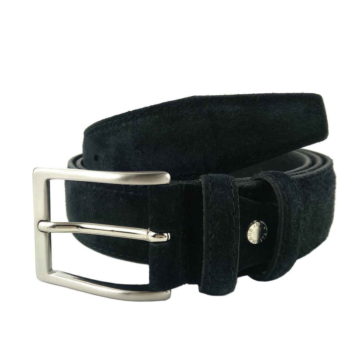 MYB Cintura uomo in vera pelle scamosciata - altezza 35 mm - Made in Italy - diversi colori e taglie disponibili