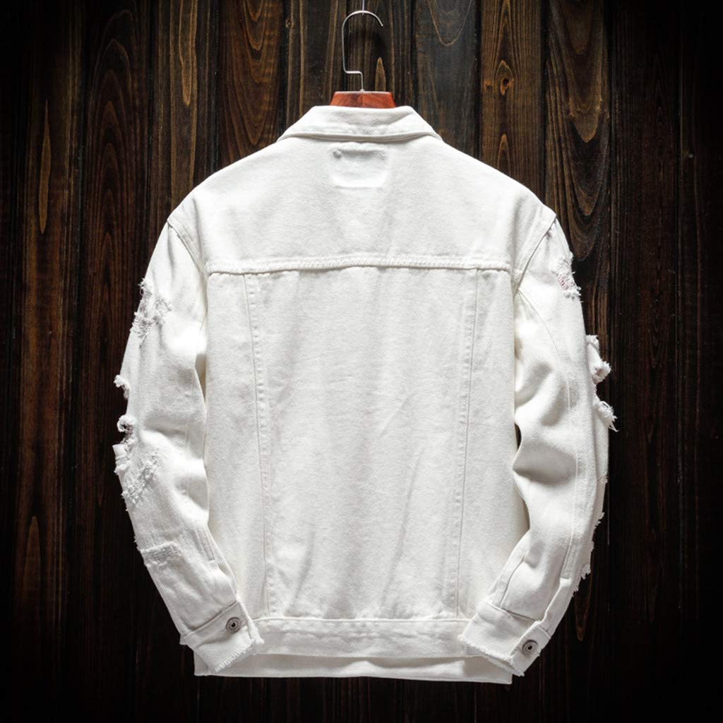 Ultramall Long Sleeve Men's Long Sleeve Autumn Winter Casual Turn-Down Collar Denim Jacket Coat by Ultramall (Image #3)