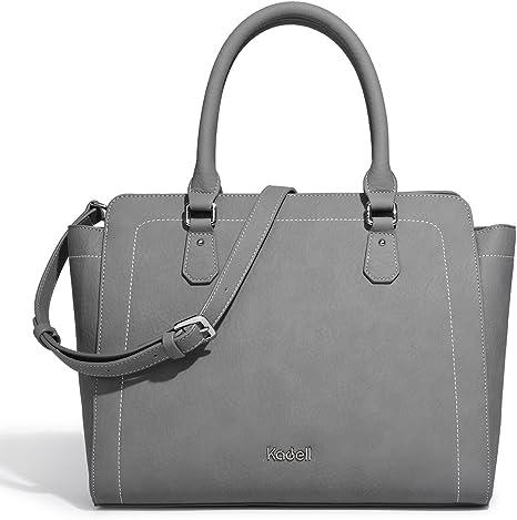 Kadell PU Leather Top Handle Satchel Handbags Shell Shape Color Stitching Purse Shoulder Bag