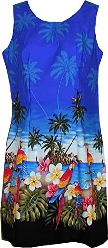 Pacific Legend Women's Parrot Island Bottom Border Hawaiian Aloha Poplin Dress