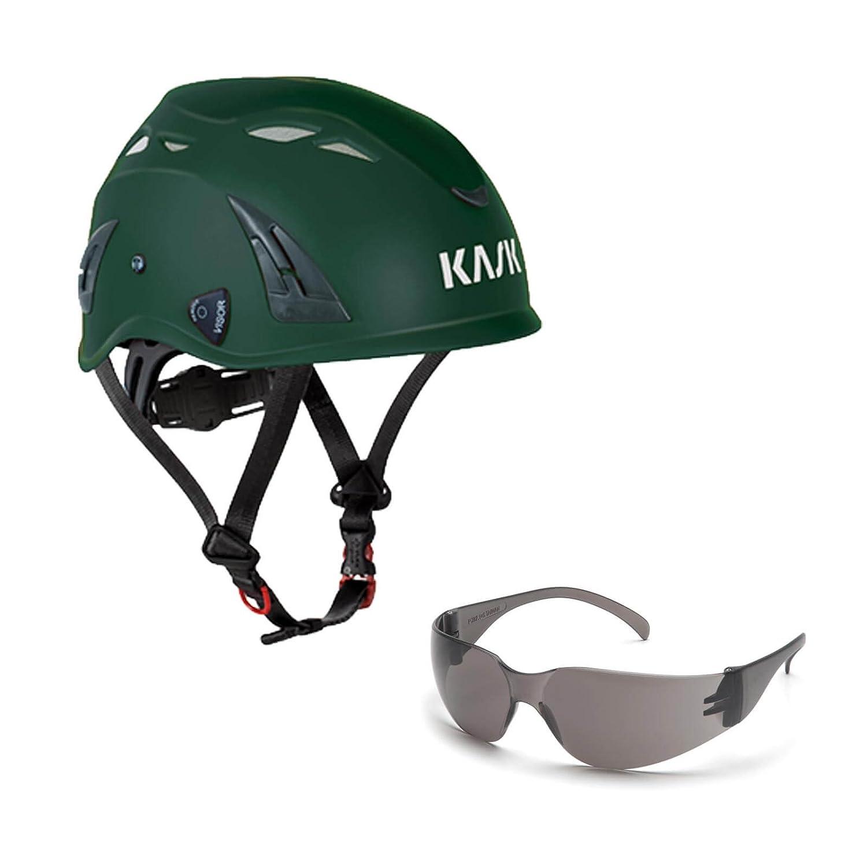 KASK Schutzhelm, Bergsteigerhelm, Industriekletterhelm Plasma AQ - Arbeitsschutz-Helm + Schutzbrille grau - EN 397, Farbe:hellgrü n