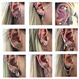 9 Boho Crawler Cuff Bar Earrings Sets Feather Cross Star Stud Vine Tribal Charm Hoop Earring Vintage Punk Style Jewelry for Girl Women (9 sets- 57 pcs)
