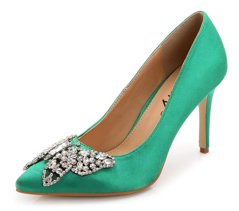ad4189b5f7b0 delicate Aisun Women s Elegant Rhinestone Low Cut Pointed Toe Dress Slip On Heels  Pumps Party Bridal