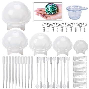 silikon form resin DIY Schmuck Gießformen für Harz, 5 Stück Silikon Sphere form Resin Anhänger Basteln Gießform, Augenschraub