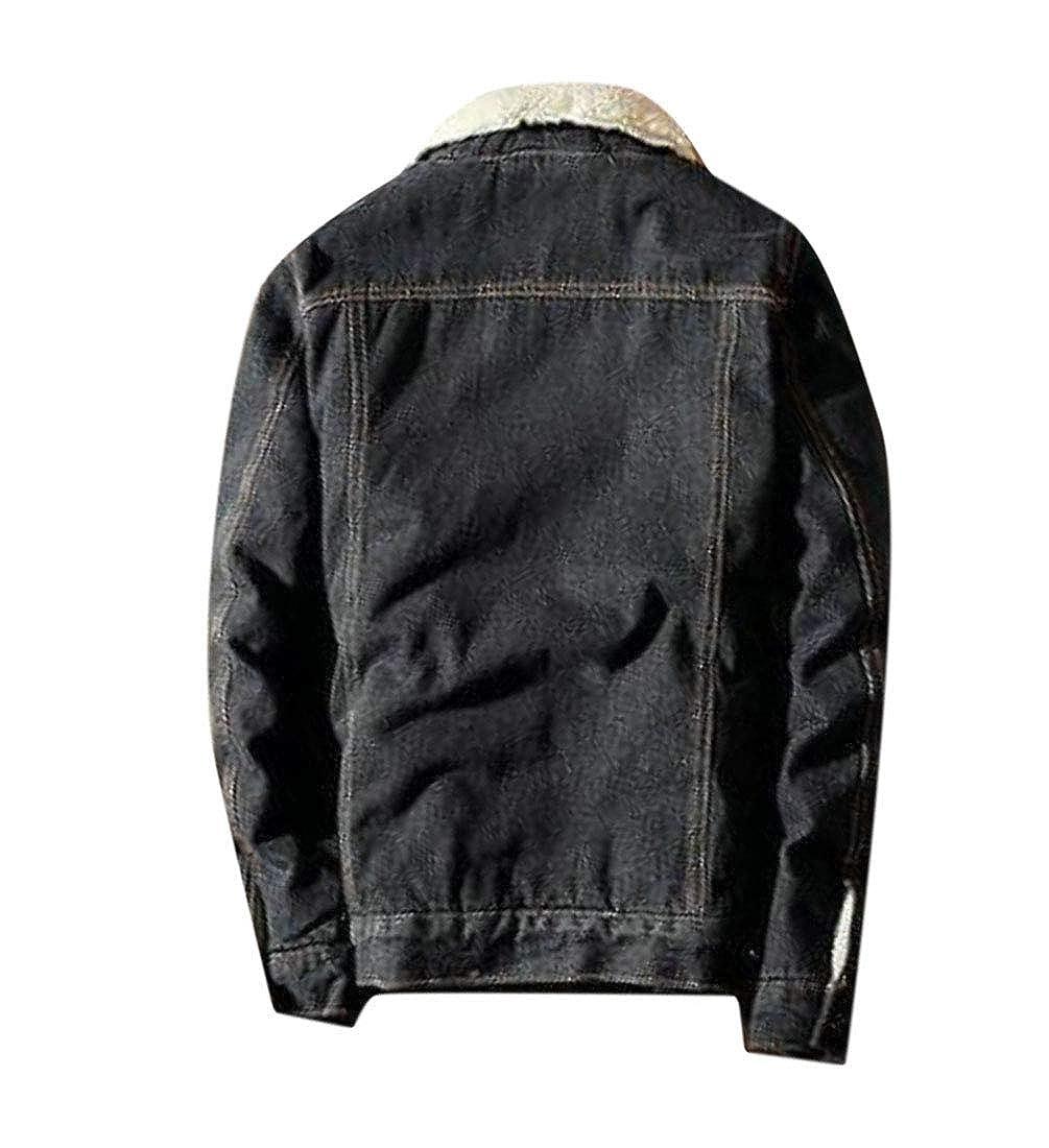 Pandapang Mens Fleece Fall//Winter Denim Jacket Overcoat Slim Parkas Coat