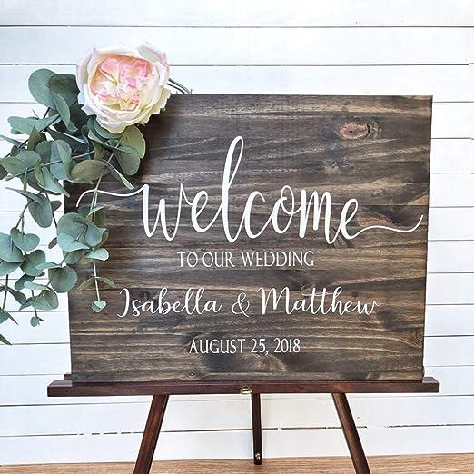 Cartel de bienvenida de boda Calcomanías de madera Etiqueta ...
