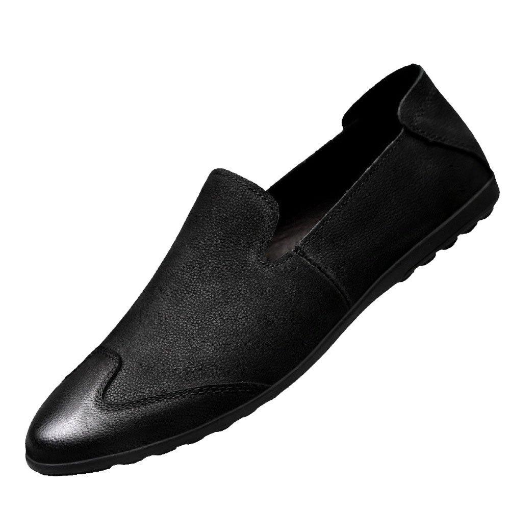 Hombres Verano Casual Moda Suave Negocios Juventud Zapatos De Cuero 41 EU|Black