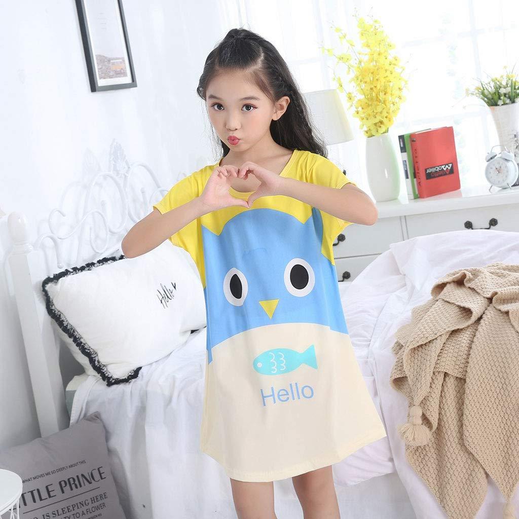 Qiuxiaoaa Girls Nightdress Summer Children Pajamas Girls Short-sleeved Skirt Pajamas Half Sleeve Dress Home Service Blue Bear-14 Yards