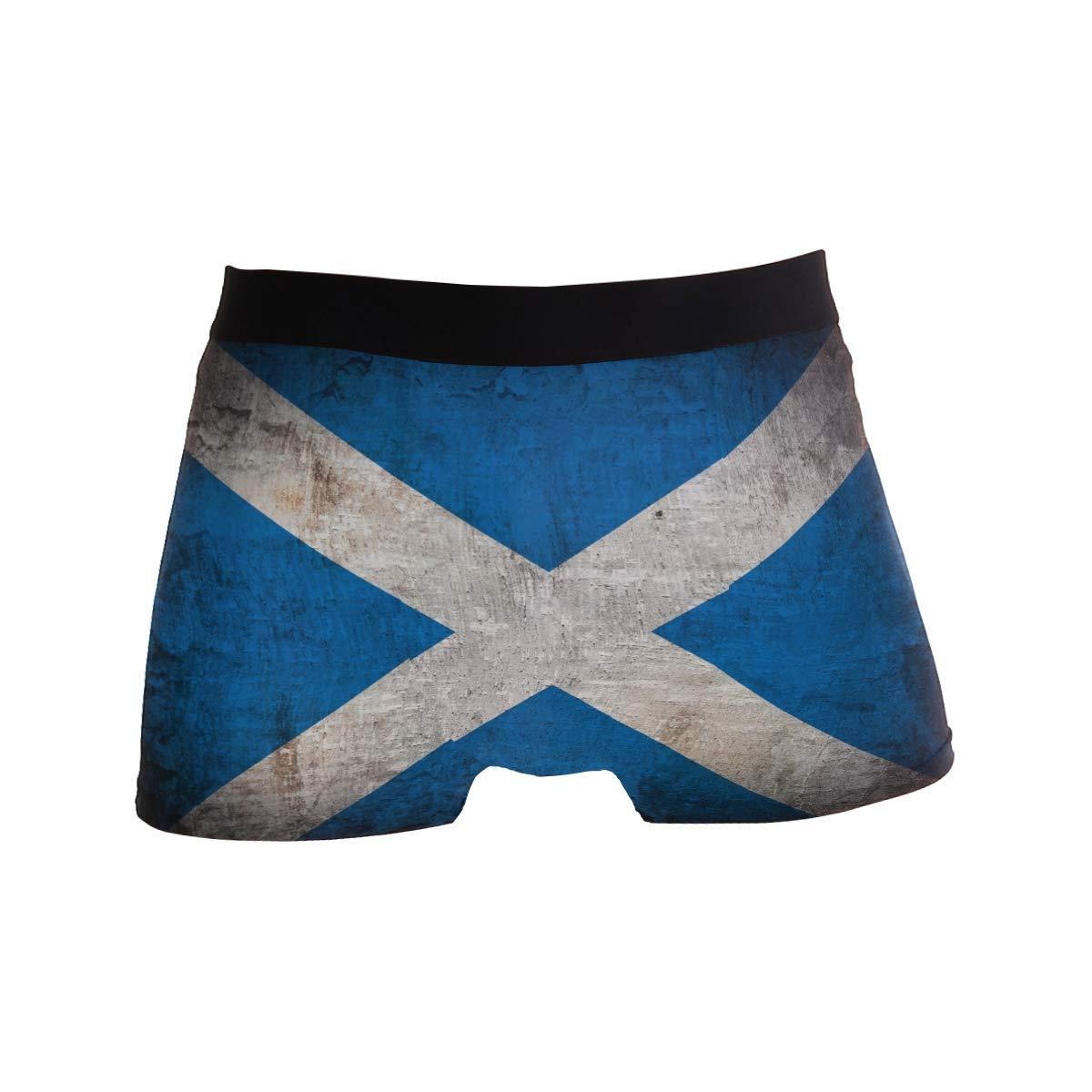 ZZKKO Retro Grunge Scotland Flag Mens Boxer Briefs Underwear Breathable Stretch Boxer Trunk with Pouch S-XL