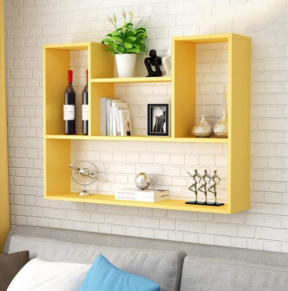 YCT クリエイティブ棚テレビの背景の壁の装飾的なフレームの壁の装飾棚 (Color : 黄) B07RR2JDBX 黄
