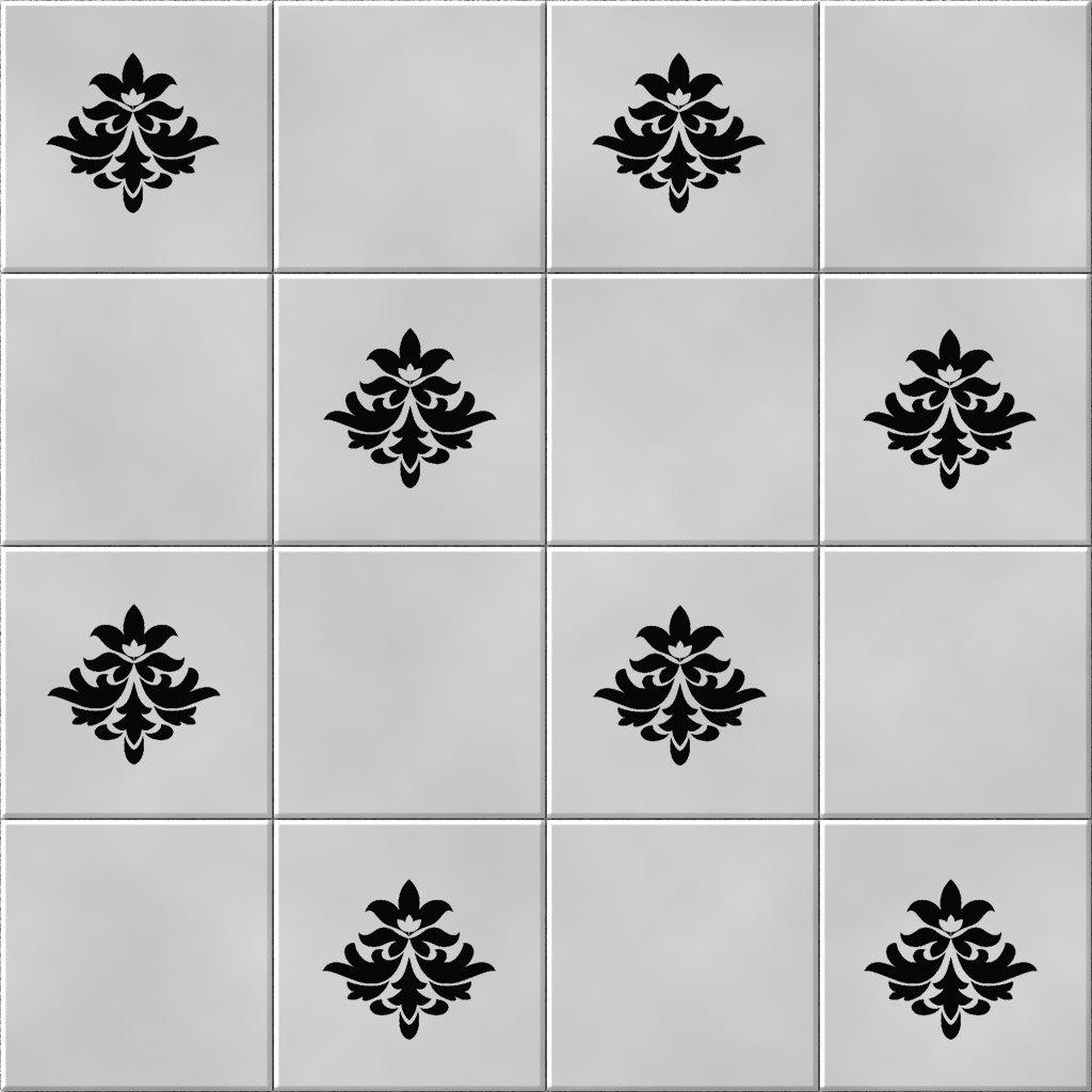 'Baroque' salle de bain/cuisine 36stickers pour carreaux de salle de bains (Noir) Vinylworld 290829090529