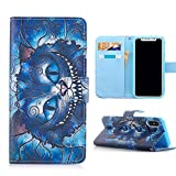 Iphone X Case, Iphone X Wallet Case, Cheshire Cat Pattern PU Leather Wallet Case Stand Cover with Cash Card Slots for Apple iphone X (2017 Release) - Cool as Great Gift