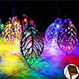 Hulorry Solar String Lights Outdoor,Solar String Lights Tree Leaf Metal Ornament Lights Waterproof Fairy Lights for Garden, Wedding, Party, Indoor, Outdoor and Christmas Tree,Colorful
