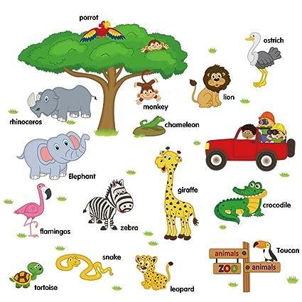 Dibujos Animados Animales Niños Habitación Pegatinas,Decoración De ...