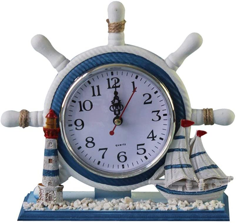 KODORIA Wheel Wall Clock Decoration Nautical Anchor Boat Steering Wheel Time Clock Table Decor - Ship