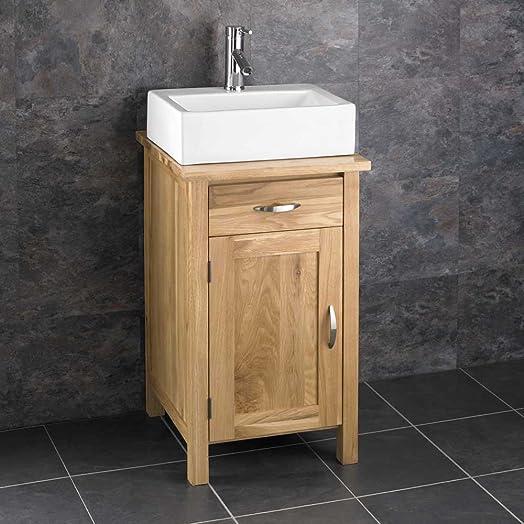 Clickbasin Ohio 45cm Square Oak Vanity Unit And Barletta Rectangular Basin