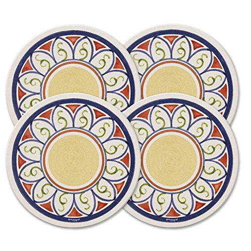 Pfaltzgraff Villa Della Luna Naturestone Coasters, 4-Inch, Set of 4 - Luna Family Set
