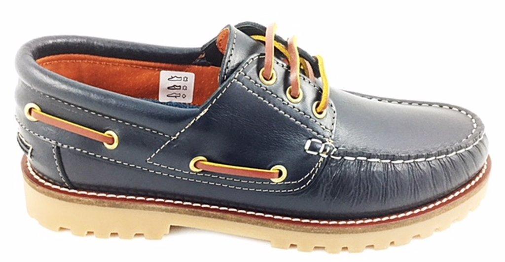 Zapato náutico para Hombres, Color Azul Marino con Cordones, en Piel - 111671 44 EU|Azul Marino