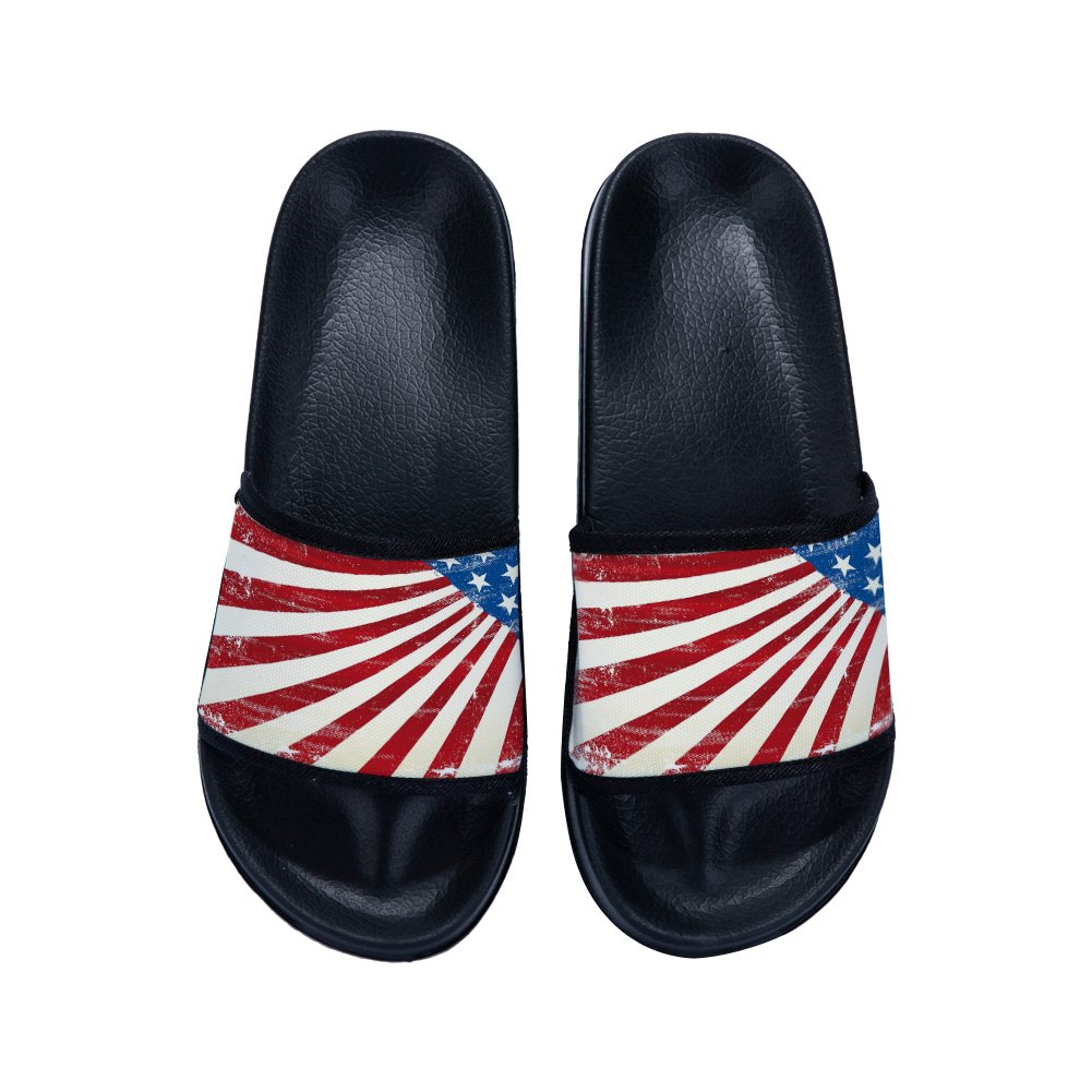 Eric Carl Slide Sandals with American Flag for Boys Girls with American Flag Home Bath Shower Slippers