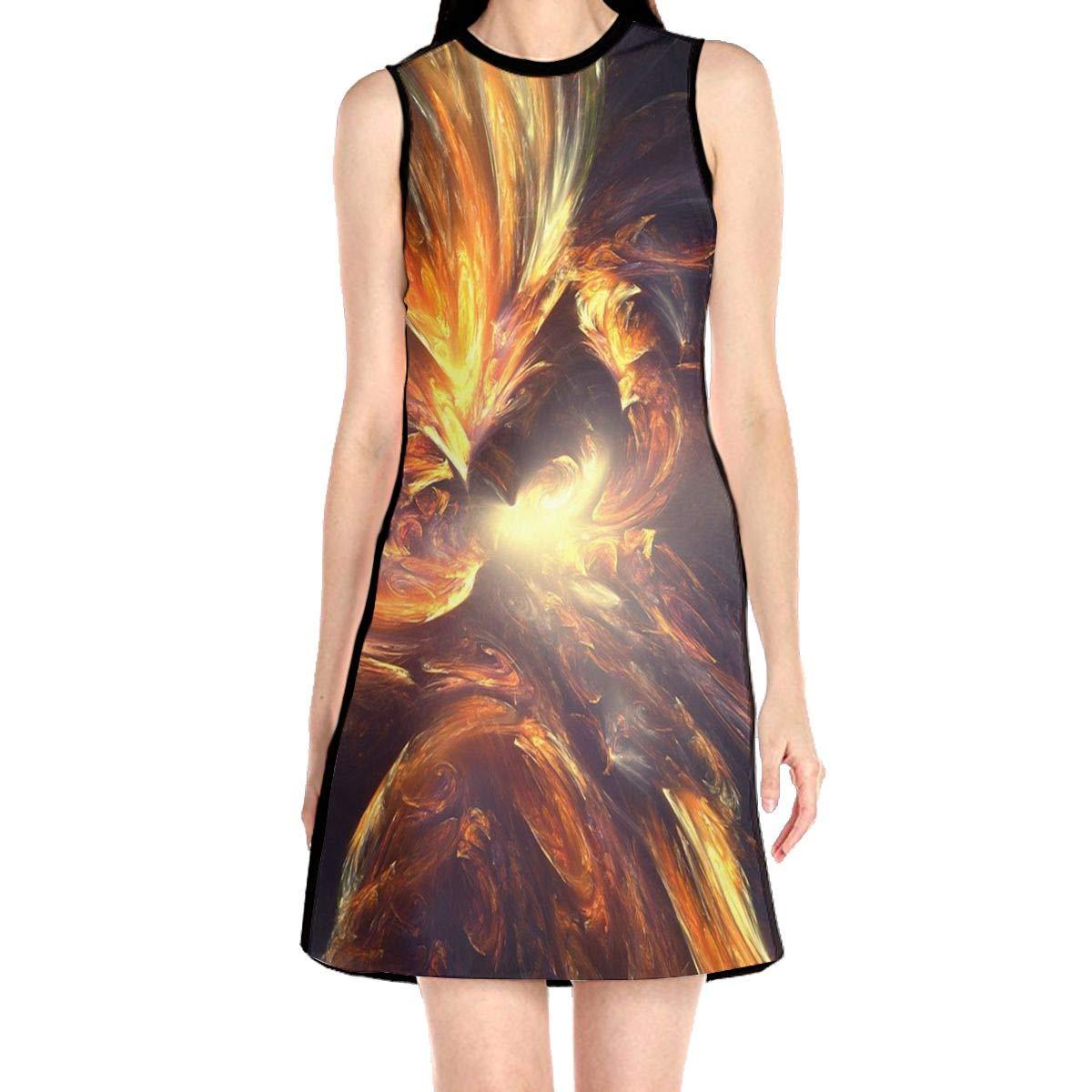 Serious Tiger Women Causal Sleeveless Dress Loose Mini T-Shirt Dress
